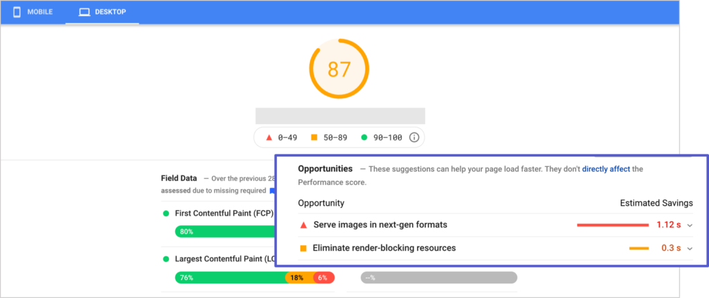 pagespeed insights report by google