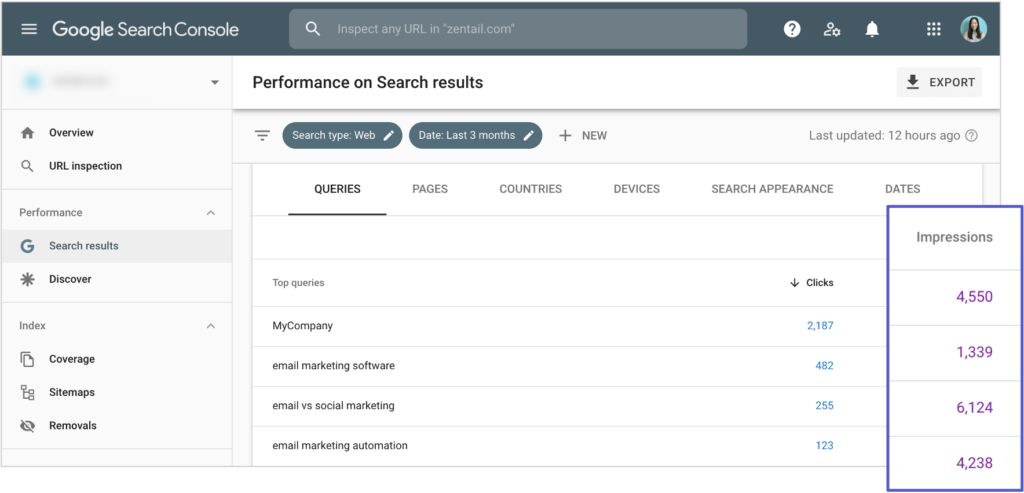 screenshot of impression count on google search console