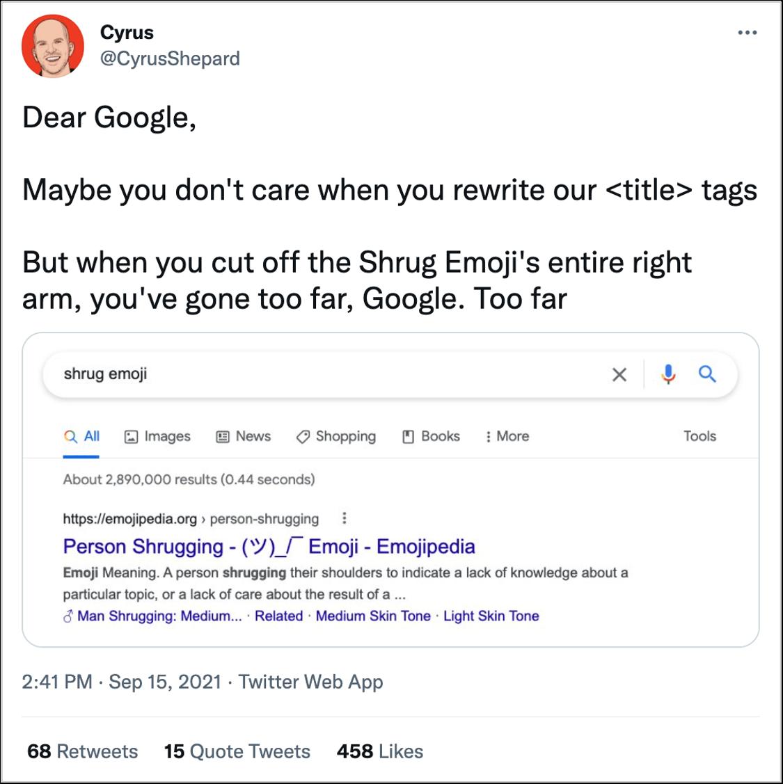 tweet showing title tag change for shrug emoji
